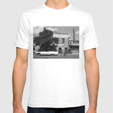 Man on a Bike MEDIUM Mens Fitted Tee White