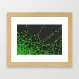 Green voronoi lattice on black background Framed Art Print