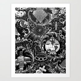 Black and White Woven IOOF Symbolism Tapestry Art Print