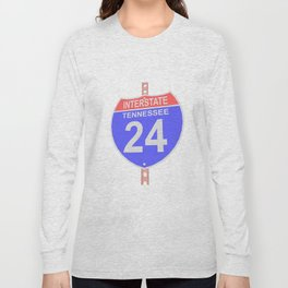 Interstate highway 24 road sign in Tennessee Long Sleeve T-shirt