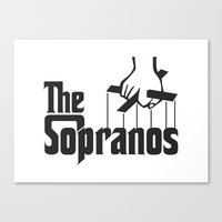 sopranos Canvas Prints featuring The Sopranos Logo (Black) (The Godfather mashup) by Agu Luque