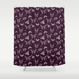 Purple Moths Shower Curtain