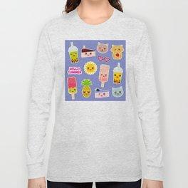 Hello Summer. Pineapple, cherry smoothie cup, ice cream, sun, cat, cake, hamster. Kawaii cute face. Long Sleeve T-shirt