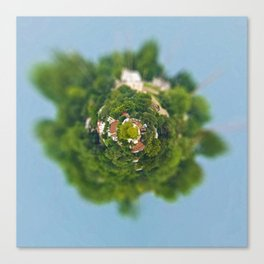 Tiny Planet Tilt-Shift Houses Among Trees on HIll Canvas Print