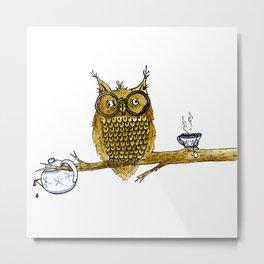 Overly Caffeinated Owl Metal Print