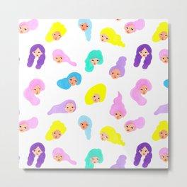 Neon Hair Girls Pattern Print Metal Print