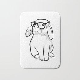 Cute Rabbit Bunny Nerd With Geek Glasses Bath Mat