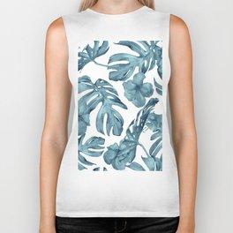 Teal Blue Tropical Palm Leaves Flowers Biker Tank