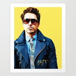 Robert Downey Jr - Low Poly Vector Art Art Print