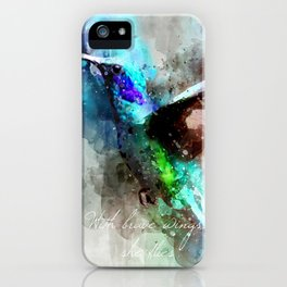 With brave wings she flies inspirational quote watercolor hummingbird motivational saying bird print iPhone Case