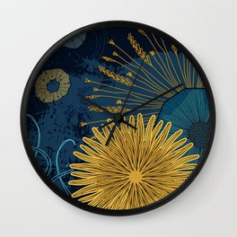 Navy floral background Wall Clock