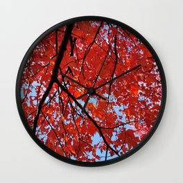 Red Maple Leaves Wall Clock