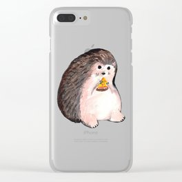 hedgehog eating pizza Clear iPhone Case
