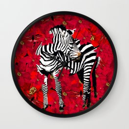 ZEBRA AND FLOWERS Wall Clock