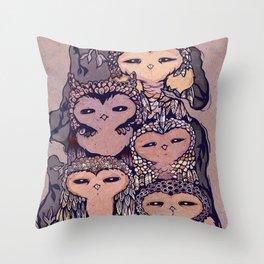 Day Owls Throw Pillow
