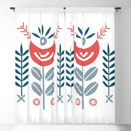 Scandinavian Folk Pattern Art Blackout Curtain