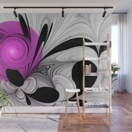 Abstract Black and White with Pink Wall Mural