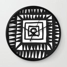 Tribal Print B&W- 02 Wall Clock