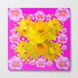 Colorful Fuchsia Pink Roses & Gold Daffodils Metal Print