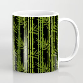 Green Bamboo Shoots and Leaves Pattern on Black Coffee Mug