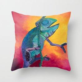 Singing Chameleon Throw Pillow