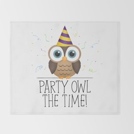 Party Owl The Time Throw Blanket