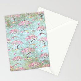 Spring Flowers - Cherry Blossom  Tree Pattern Stationery Cards