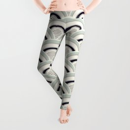 Japanese Seigaiha Wave in neutral pastel colors Leggings
