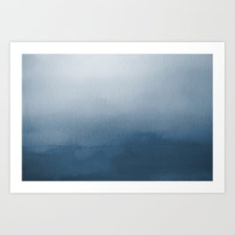 White & Blue Abstract Watercolor Blend Pairs To 2020 Color of the Year Chinese Porcelain PPG1160-6 Art Print