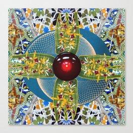 Laelia Orchid Jet Rotor Mandala Canvas Print