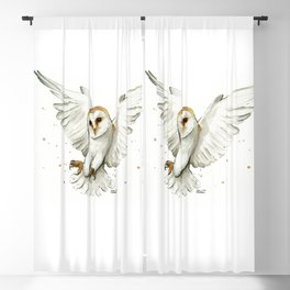 Barn Owl Flying Watercolor | Wildlife Animals Blackout Curtain