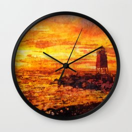 Watercolor batik painting of lighthouse in Charlevoix, MI silhouetted at sunset on Lake Michigan- US Wall Clock
