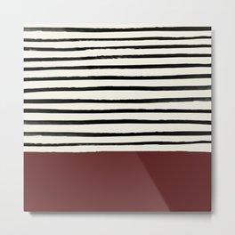 Dark Ruby & Stripes Metal Print