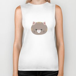 Brown Cat with yellow stripes Biker Tank
