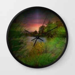 Sunset On The Lagoon Wall Clock
