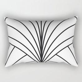 Round Series Floral Burst Charcoal on White Rectangular Pillow