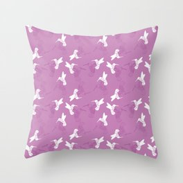 Humming Bird Pink Throw Pillow
