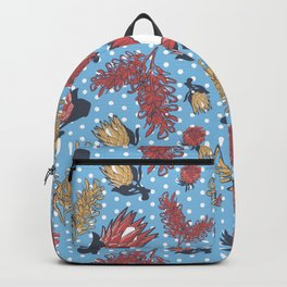 Australian Native Flowers - Grevillea and Protea Backpack