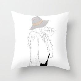 Gray Fall Fashion Hat Vest Girl 2 Throw Pillow