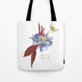 Blue Scabiosa Flower Tote Bag