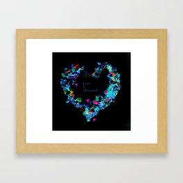 Love is all around , night neon  edition Framed Art Print