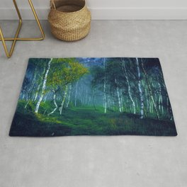 White Birch Forest, New England Landscape Rug