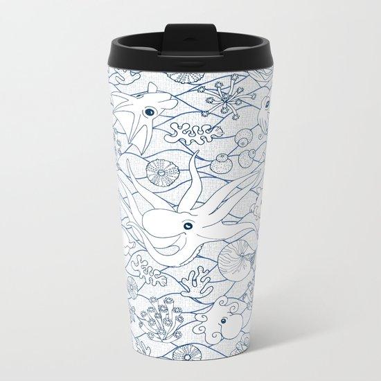 Cephalopods: White and Blue Metal Travel Mug