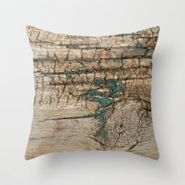 Rustic Wood Ages Gracefully - Beautiful Weathered Wooden Plank - knotty wood turquoise paint Throw Pillow
