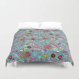 Pattern with candy, ice cream, candy, donuts, cupcake, macaroons and other sweets Duvet Cover