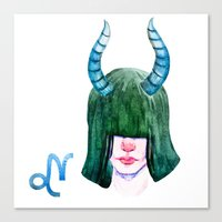 capricorn Canvas Prints featuring Capricorn by Aloke Design
