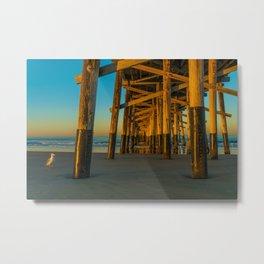 Pier Gull Metal Print
