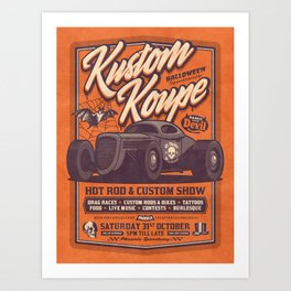 Vintage Style Fictional Halloween Hot Rod Show - Orange Art Print