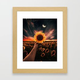 Moon flowers Framed Art Print