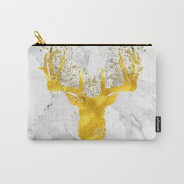 Glittering Golden Deer on White Marble Carry-All Pouch